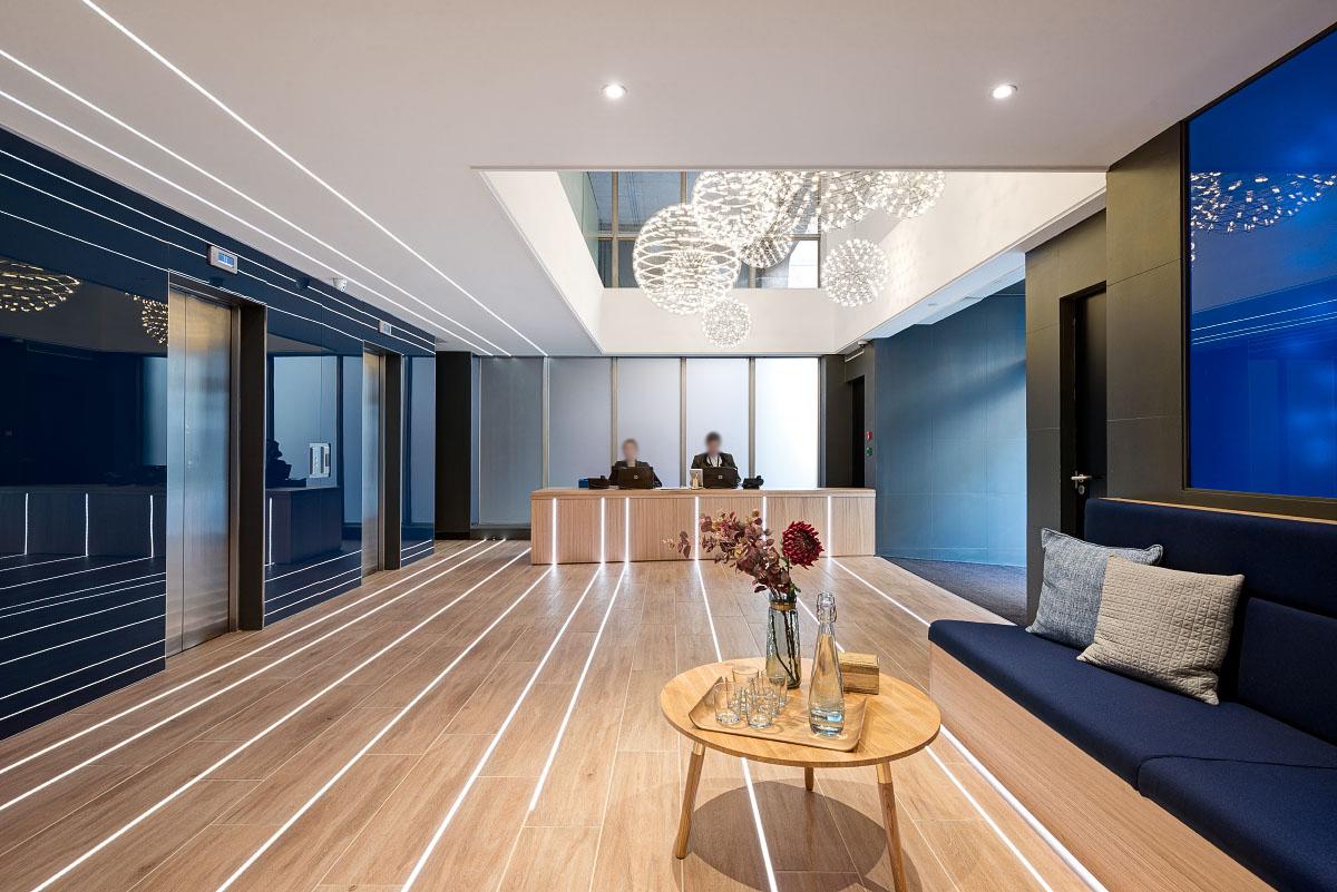 办公家具定制-第一印象前台区,花样设计供您参考